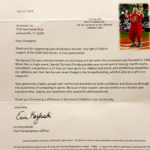 Special Olympics letter